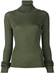 Marios 'Shimmery' Ribbed Turtleneck Pullover Green