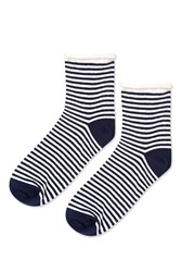 Topshop Stripe Roll Top Ankle Sock Navy Blue
