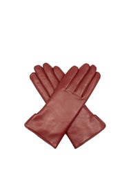 Agnelle Rabbit Fur And Leather Gloves Burgundy