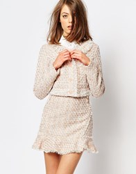 Sister Jane Pink Lemonade Tweed Crop Jacket Co Ord Nude