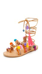 Elina Linardaki Penny Lane Lace Up Sandals Multi