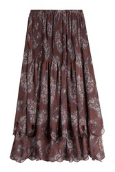 See By Chloe Printed Chiffon Midi Skirt Multicolor