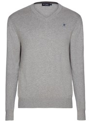Hackett London Cotton Silk Cashmere V Neck Jumper Grey Marl