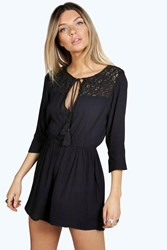 Boohoo Crochet Insert Tassel Playsuit Black