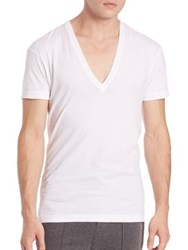 2Xist Solid Dipped V Neck Tee White