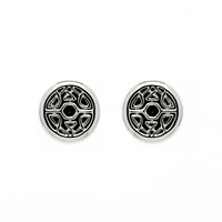 Biba Rhodium Button Crystal Fabric Earrings