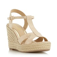 Head Over Heels Klover Metallic T Bar Wedge Sandals Gold