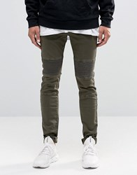 Sixth June Skinny Biker Jeans With Ripped Knees Khaki Green