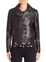 Saint Laurent Double Breasted Cropped Leather Jacket Nero