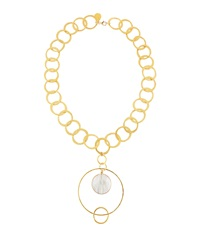 Devon Leigh Hammered Gold Circular Shell Pendant Necklace White