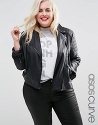 Asos Curve Ultimate Biker Jacket With Piped Detail Black