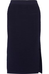 Dion Lee Stretch Textured Knit Midi Skirt Blue