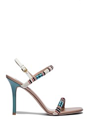 Valentino Beaded Stiletto Heeled Sandals Natural