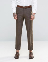 Harry Brown Slim Fit Suit Trousers In Khaki Check Green