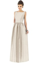 Women's Alfred Sung Square Neck Dupioni Full Length Dress Champagne