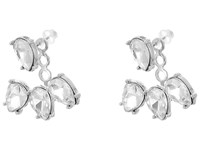 Kenneth Jay Lane Silver Crystal Teardrop Post Ear Jacket Earrings Silver Crystal Earring