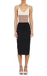 Narciso Rodriguez Women's Compact Ottoman Knit Sheath Dress Black Cream Blue