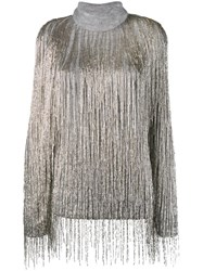 Valentino Beaded Fringe Oversized Jumper Grey
