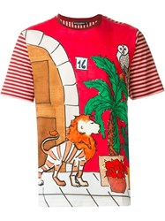 Dolce And Gabbana Drawing Print T Shirt Red
