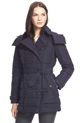 Burberry 'Midallerdale' Belted Down Jacket Navy
