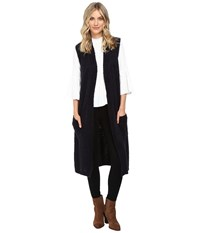 Echo Knit Cross Over Vest Navy Women's Vest