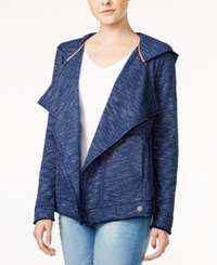 Tommy Hilfiger Draped Hooded Cardigan Only At Macy's Blue Combo
