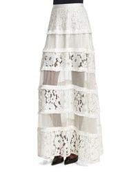 Alexis Emil Tiered Lace Maxi Skirt White