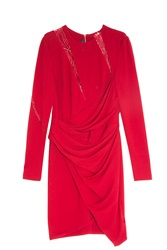 Elie Saab Lace Insert Dress Red
