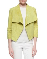 Neiman Marcus Suede Draped Moto Style Jacket Green
