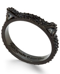 Kate Spade New York Black Tone Dark Crystal Pave Cat Ring Black Multi