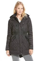 Petite Women's Vince Camuto Detachable Hood Quilted Anorak Black