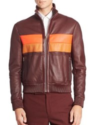 Paul Smith Reversible Shearling Lined Leather Jacket Burgundy