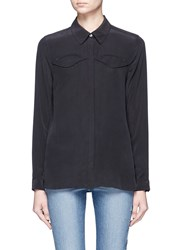 Equipment 'Denver' Western Detail Silk Shirt Black