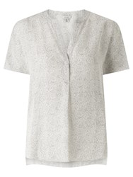 Jigsaw Dashed Lines Silk Blouse White