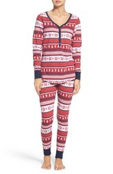 Nordstrom Women's Lingerie Sleepyhead Henley Pajamas Red Lipstick Holiday Fairisle