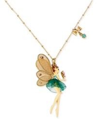 Betsey Johnson Antique Gold Tone Fairy And Bow Pendant Necklace