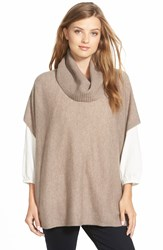 Halogen Wool And Cashmere Poncho Heather Tan Cobblestone