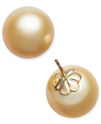 Macy's Cultured Golden South Sea Pearl 13Mm Stud Earrings In 14K Gold Yellow Gold