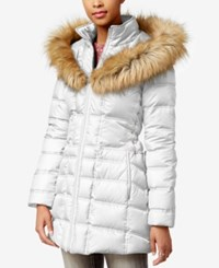 Betsey Johnson Faux Fur Trim Hooded Lace Up Puffer Coat White
