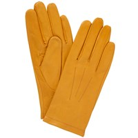 John Lewis Fleece Lined Leather Gloves Ochre
