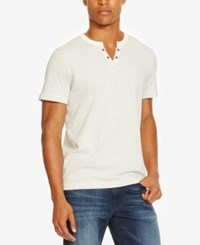 Kenneth Cole Reaction Men's Split Neck Striped Eyelet T Shirt White