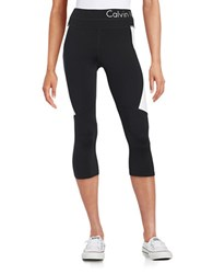 Calvin Klein Colorblocked Compression Leggings Black White