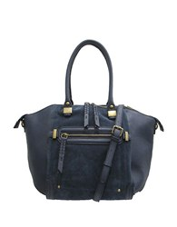 Chinese Laundry Erica Satchel With Cross Body Strap Navy Blue