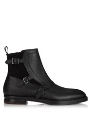 Alexander Mcqueen Monk Strap Leather And Suede Boots Black