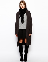 Bzr Chunky Cardigan In Longer Length Charcoal
