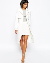 Asos Mac With Oversized Pockets And Seam Detail Cream