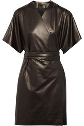 The Row Yadan Leather Wrap Coat Brown