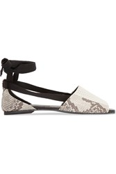 Newbark Julia Perforated And Snake Effect Leather Flats White