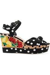 Dolce And Gabbana Embroidered Polka Dot Crepe Cork Sandals Black