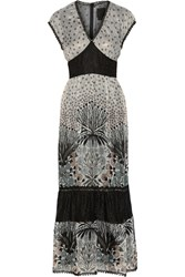 Anna Sui Printed Lace Paneled Silk Blend Chiffon Maxi Dress Black